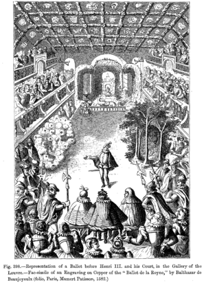 Engraving of a Ballet before Henri III and his Court, in the Gallery of the Louvre. (folio, Paris, Mamert Patisson, 1582.)